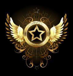 star with golden wings vector image