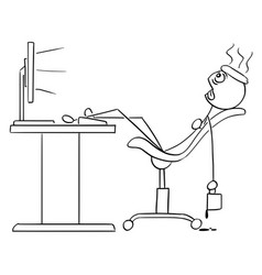 Stick man cartoon of man sitting exhausted in vector
