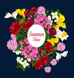 summer time flowers best wishes poster vector image