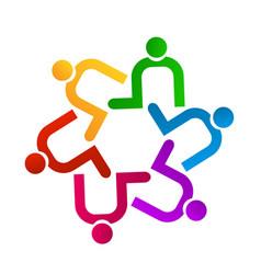 Teamwork people contributing icon logo vector