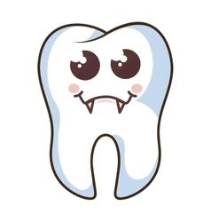 teeth funny character kawaii style vector image