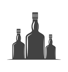 Three bottles for whiskey with screw cap black vector