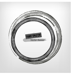 tire track circle grunge frame vector image