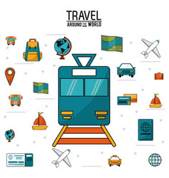 Travel around the world train railway world vector