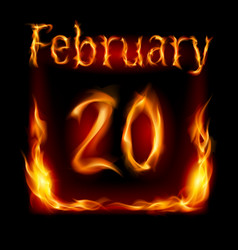 Twentieth february in calendar of fire icon on vector