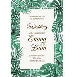 Wedding invitation card template tropical leaves vector