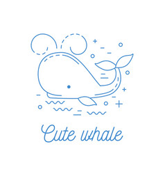 whale line art logotype vector image