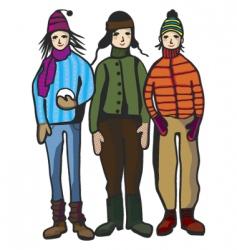 Winter children vector