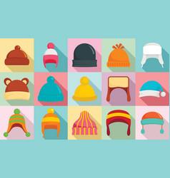 Winter headwear icon set flat style vector