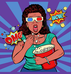 Woman in 3d glasses watching a scary movie and vector