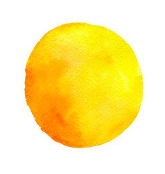 Yellow round watercolor blob vector