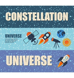 Banners on the theme of space on a dark background vector image vector image