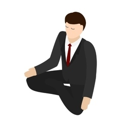 Businessman meditation icon isometric 3d style vector image vector image