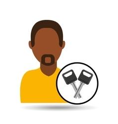 Man icon keys car design vector