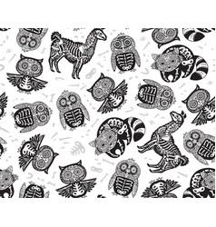 owl penguian llama and raccoon sugar skull in vector image vector image