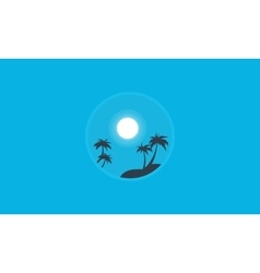 Palm and moon landscape of silhouettes vector