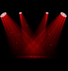 red spotlights on dark background vector image vector image
