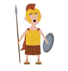 Roman warrior cartoon character screaming holding vector image