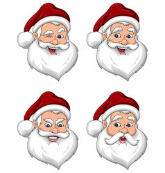 Santa Claus Various Expressions Face Side View vector image vector image