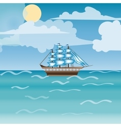 Three masted sailing ship frigate transport vector image vector image