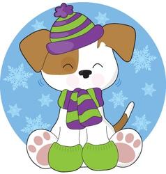 cute puppy winter vector image vector image