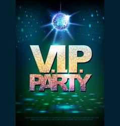 disco ball background disco poster vip party vector image vector image