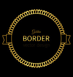 golden circle label with lacy border vector image