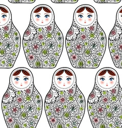 Pattern with the Russian dolls matrioshka Babushka vector image