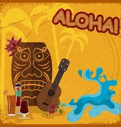 Vintage postcard with featuring Hawaiian masks vector image