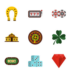 casino elements icons set flat style vector image