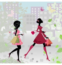 fashion shopping city girls vector image vector image