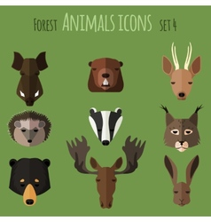 Forest animals flat icons Set 2 vector image vector image