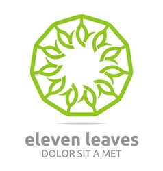 leaves circle ecology flora design vector image vector image