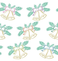 Seamless background Christmas bells pictogram vector image vector image
