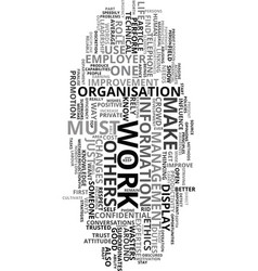 Work attitude ethics for progress text word cloud vector