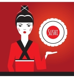 Beautiful Japanese girl in red kimono holding vector image vector image