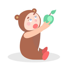 Little child in bear suit with apple cartoon icon vector