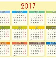 Simple calendar of 2017 year vector image