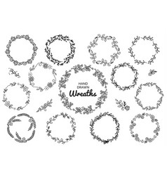 vintage set of hand drawn rustic wreaths floral vector image