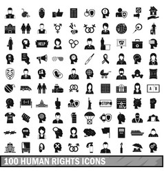 100 human rights icons set simple style vector