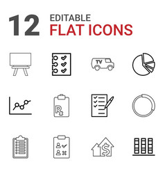 12 report icons vector image