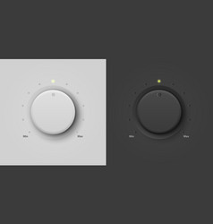 3d realistic white and black plastic knob vector image
