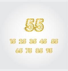 55 years anniversary gold line design set logo vector