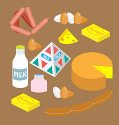 a set of dairy and meat products vector image
