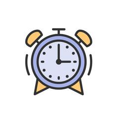 Alarm clock flat color line icon vector
