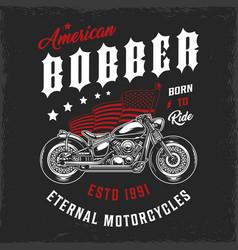 american bobber motorcycle vintage label vector image