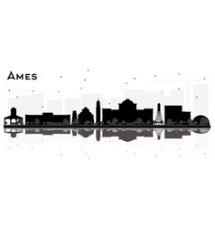 Ames iowa skyline black and white silhouette vector