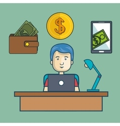Avatar man and money design vector