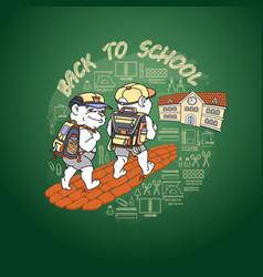 back to school two bears and school building vector image