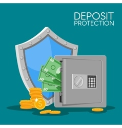 Bank deposit flat style Save vector